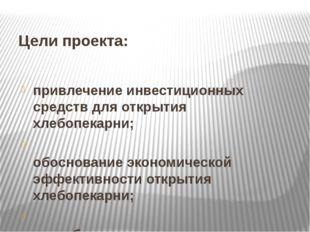 Цели проекта: привлечение инвестиционных средств для открытия хлебопекарни; о