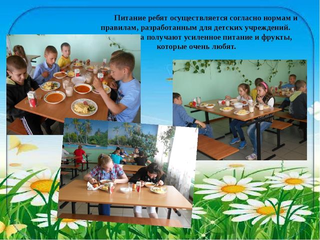 Питание ребят осуществляется согласно нормам и правилам, разработанным для де...