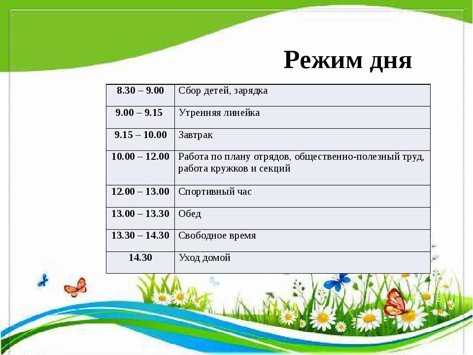 Режим дня 8.30 – 9.00 Сбор детей,зарядка 9.00 – 9.15 Утренняялинейка 9.15 – 1...