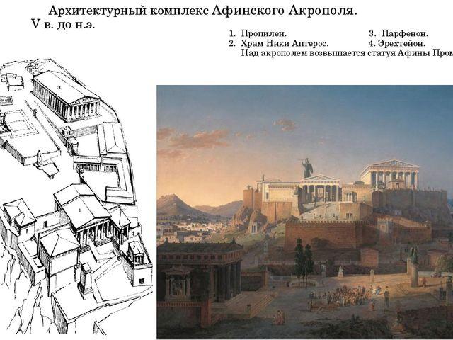 Архитектурный комплекс Афинского Акрополя. V в. до н.э. 1. Пропилеи. 3. Парф...