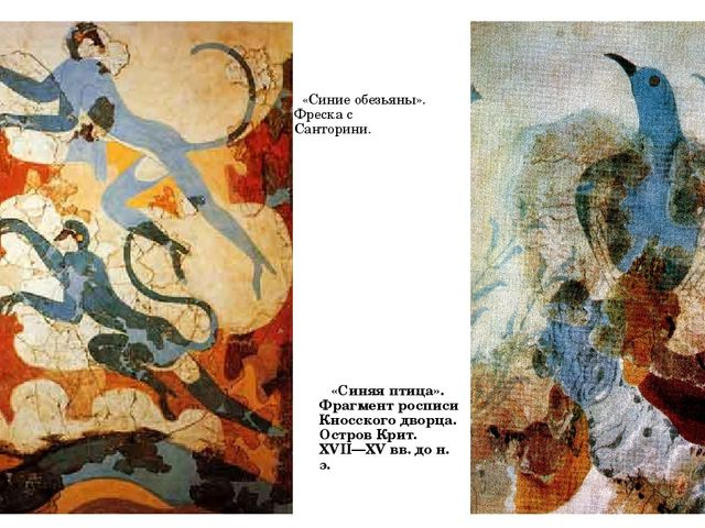 «Синие обезьяны». Фреска с Санторини. «Синяя птица». Фрагмент росписи Кносск...