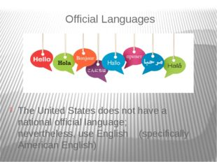 Official Languages The United States does not have a national official langua