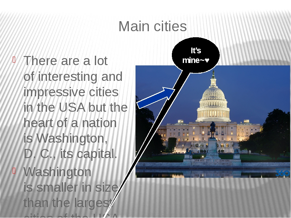 Main cities There are a lot of interesting and impressive cities in the USA b...