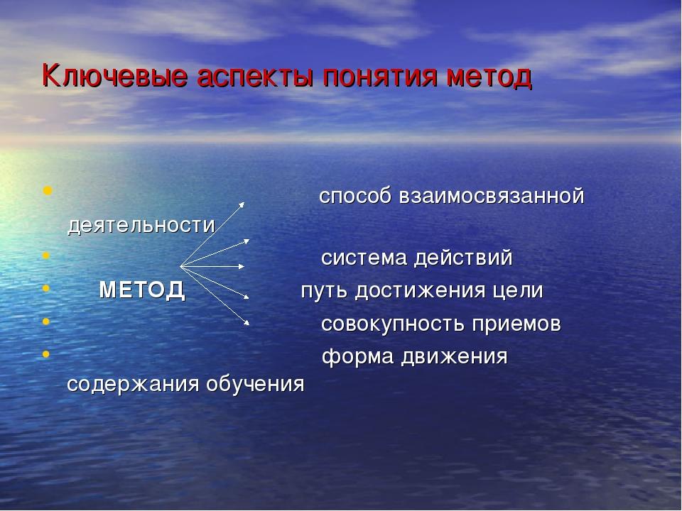 Ключевые аспекты понятия метод способ взаимосвязанной деятельности система де...
