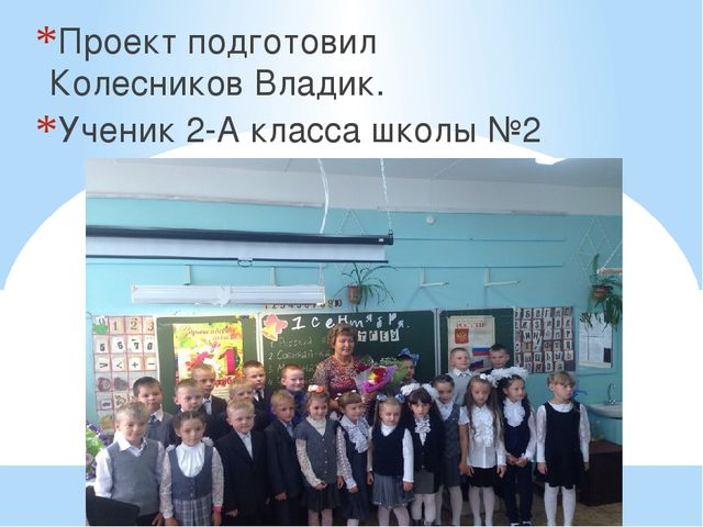 Проект подготовил Колесников Владик. Ученик 2-А класса школы №2