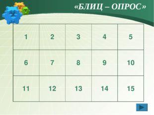 «БЛИЦ – ОПРОС» 12345 678910 1112131415