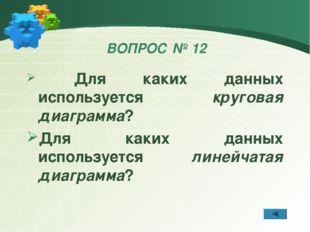 ВОПРОС № 12 Для каких данных используется круговая диаграмма? Для каких данны