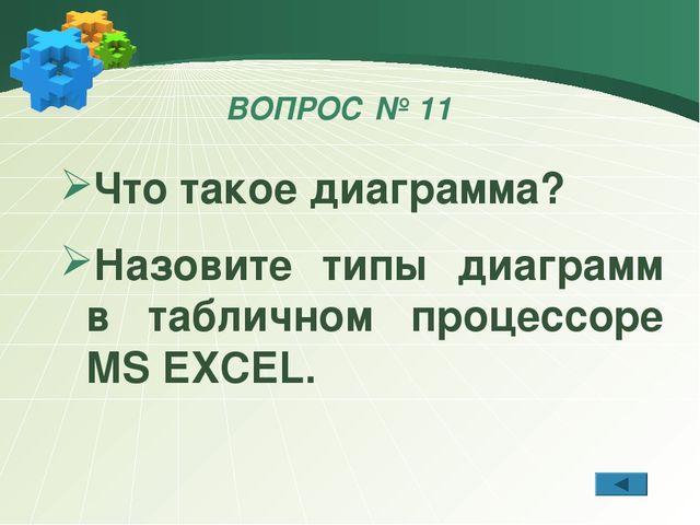 ВОПРОС № 11 Что такое диаграмма? Назовите типы диаграмм в табличном процессор...