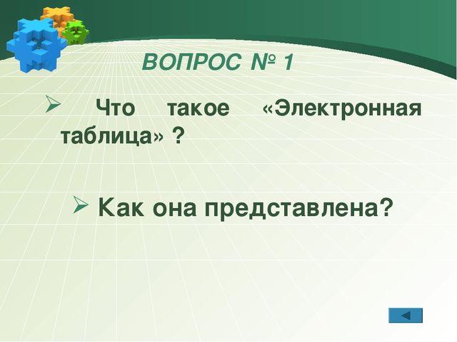 ВОПРОС № 1 Что такое «Электронная таблица» ? Как она представлена?