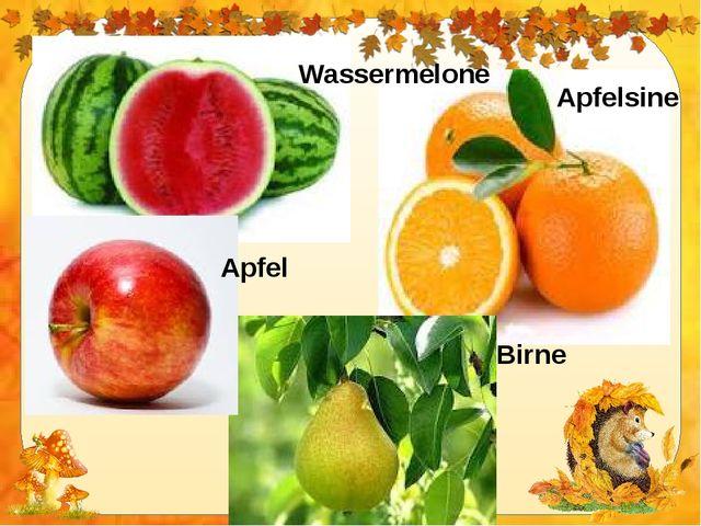 Wassermelone Apfelsine Apfel Birne