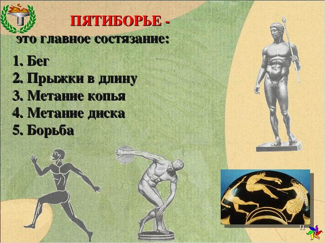 ПЯТИБОРЬЕ - это главное состязание: 1. Бег 2. Прыжки в длину 3. Метание копья...
