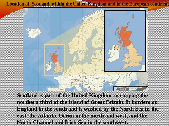 Location of Scotland within the United Kingdom and in the European continent...