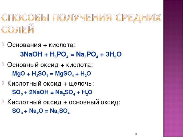 * Основания + кислота: 3NaOH + H3PO4 = Na3PO4 + 3H2O Основный оксид + кисло...
