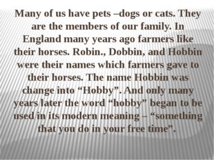 Many of us have pets –dogs or cats. They are the members of our family. In E