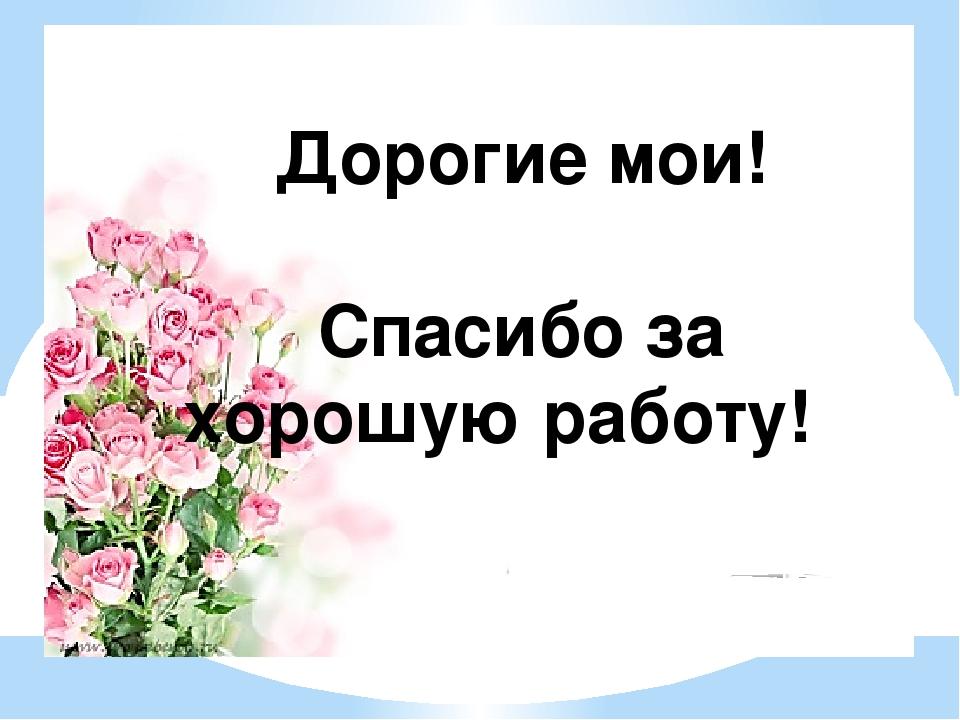 Дорогие мои! Спасибо за хорошую работу!