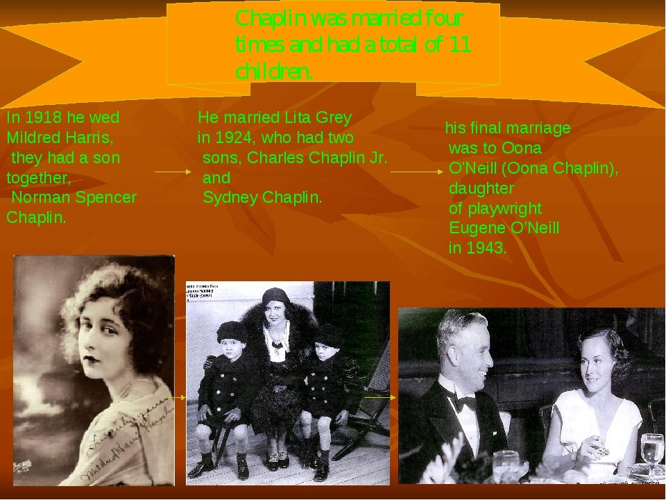 Chaplin was married four times and had a total of 11 children. In 1918 he wed...