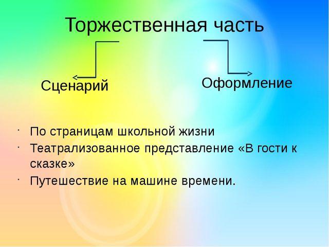 Торжественная часть Оформление Сценарий По страницам школьной жизни Театрализ...