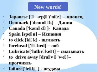 Japanese [ˌʤæp(ə)'niːz] – японец, Denmark ['denmɑːk] – Дания Canada ['kænədə]