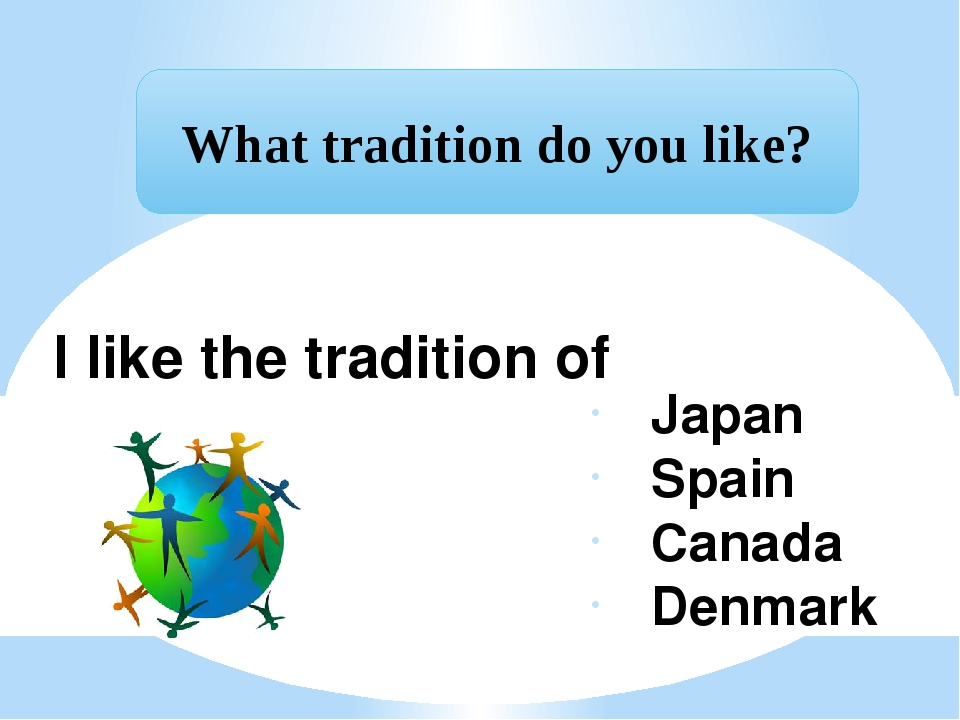 I like the tradition of Japan Spain Canada Denmark What tradition do you like?