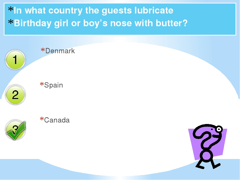 In what country the guests lubricate Birthday girl or boy's nose with butter?...