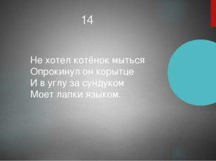 14 Не хотел котёнок мыться Опрокинул он корытце И в углу за сундуком Моет лап