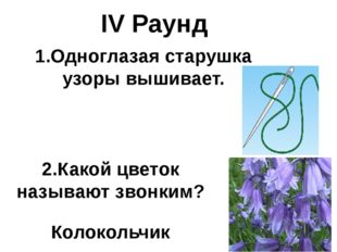 IV Раунд 1.Одноглазая старушка узоры вышивает. 2.Какой цветок называют звонки