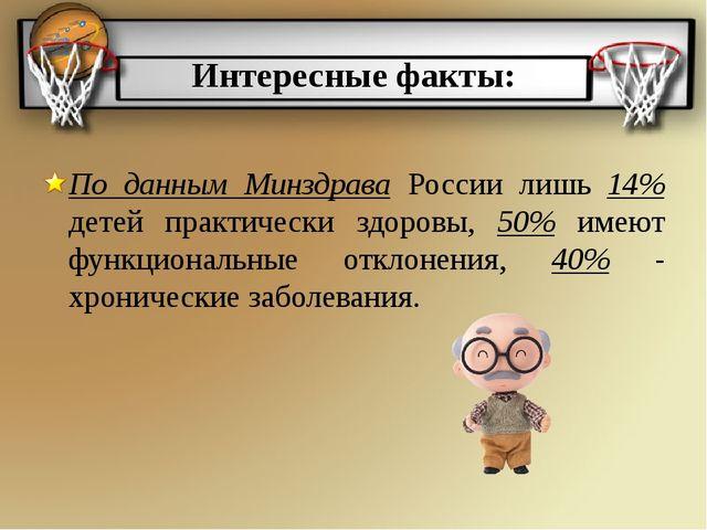 Интересные факты: По данным Минздрава России лишь 14% детей практически здоро...