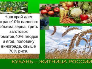 Наш край дает стране10% валового объема зерна, треть заготовок томатов,40% пл