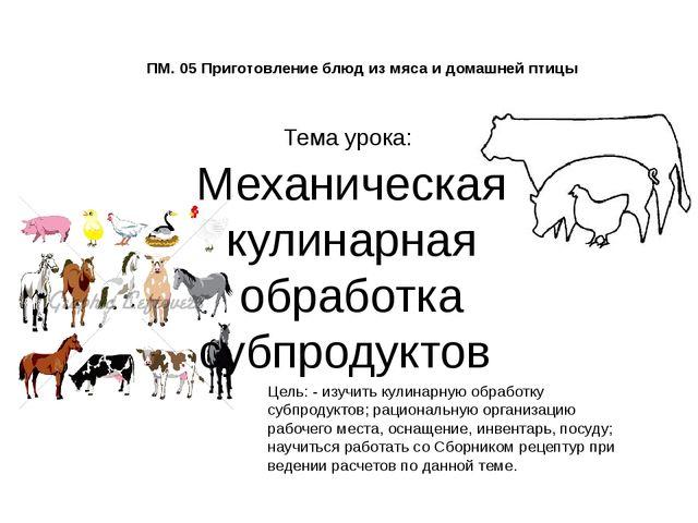 ПМ. 05 Приготовление блюд из мяса и домашней птицы Тема урока: Механическая...