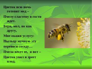 Цветок всю ночь готовит мед – Пчелу-сластену в гости ждет. Бери, мол, но как
