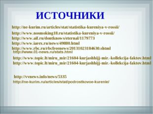 http://ne-kurim.ru/articles/stat/statistika-kureniya-v-rossii/ ИСТОЧНИКИ http