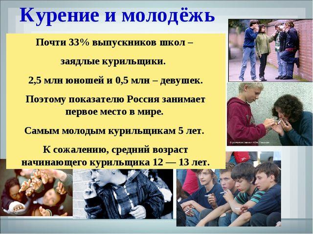 Курение и молодёжь Почти 33% выпускников школ – заядлые курильщики. 2,5 млн ю...