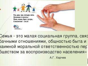 «Семья - это малая социальная группа, связанная брачными отношениями, общност