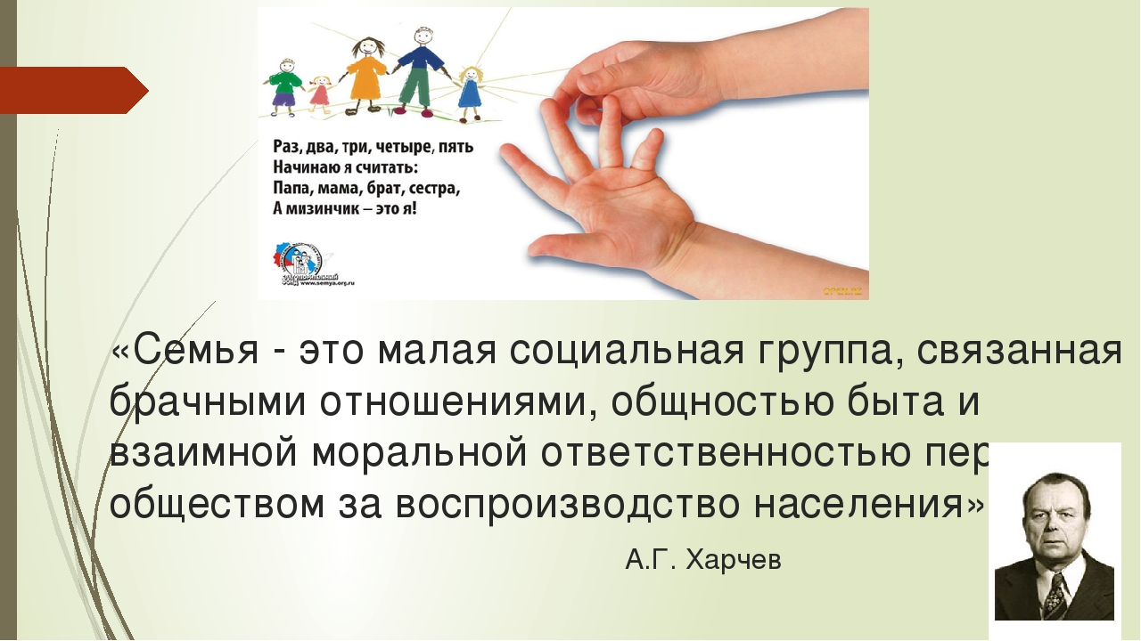 «Семья - это малая социальная группа, связанная брачными отношениями, общност...