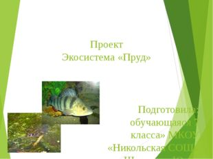 Проект Экосистема «Пруд» Подготовила: обучающаяся 7 класса» МКОУ «Никольская