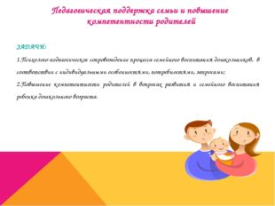Педагогическая поддержка семьи и повышение компетентности родителей ЗАДАЧИ: 1