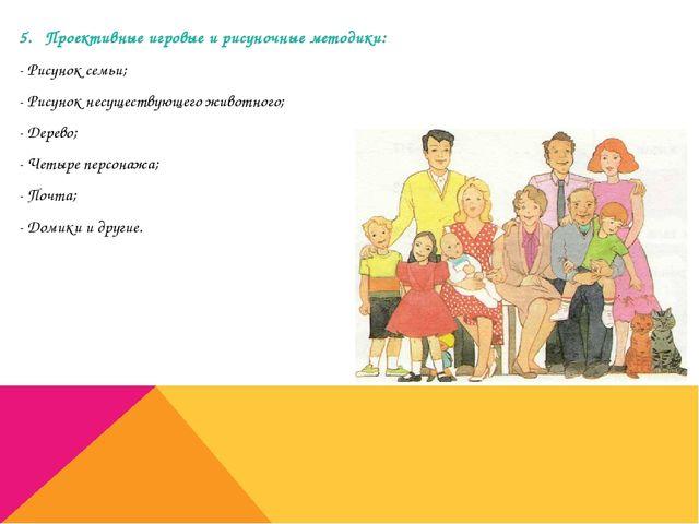 5. Проективные игровые и рисуночные методики: - Рисунок семьи; - Рисунок несу...