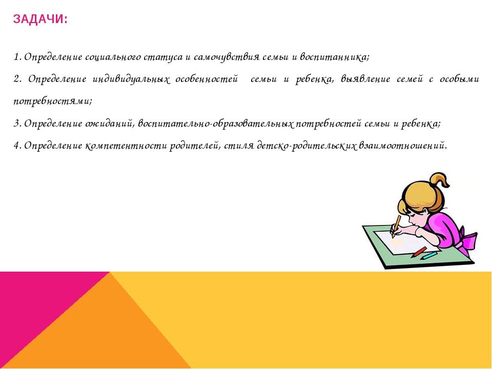ЗАДАЧИ: 1. Определение социального статуса и самочувствия семьи и воспитанник...