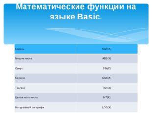 Математические функции на языке Basic. КореньSQR(X) Модуль числаABS(X) С