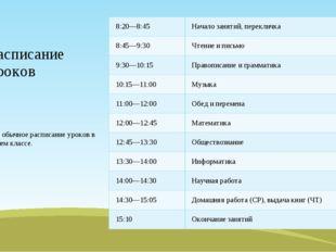 Расписание уроков Это обычное расписание уроков в нашем классе. 8:20—8:45 Нач