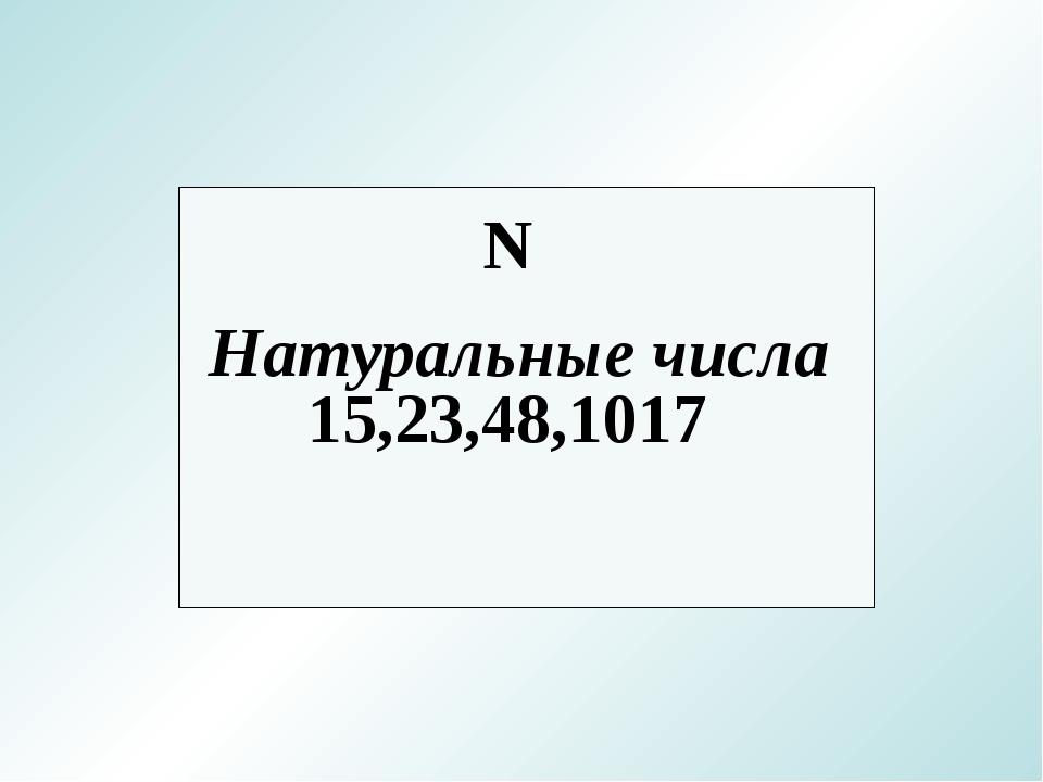 Натуральные числа N 15,23,48,1017