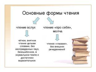 Основные формы чтения чёткое, внятное чтение целыми словами, без неоправданны