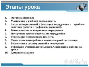 Этапы урока Организационный Мотивация к учебной деятельности. Актуализация зн