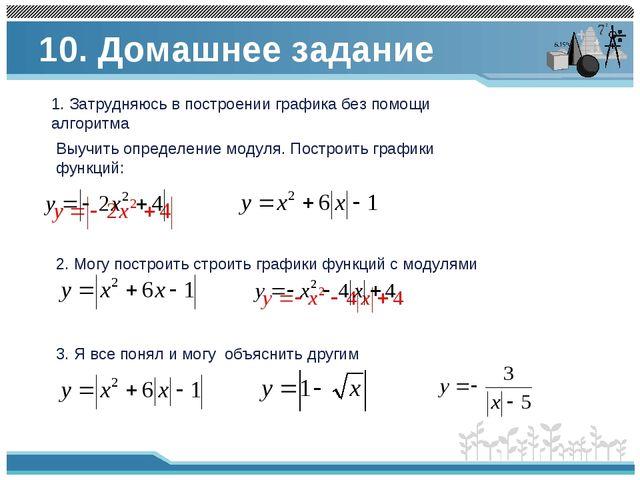 10. Домашнее задание 3. Я все понял и могу объяснить другим 2. Могу построить...