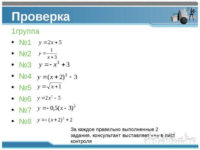 Проверка 1группа №1 №2 №3 №4 №5 №6 №7 №8 За каждое правильно выполненные 2 за...
