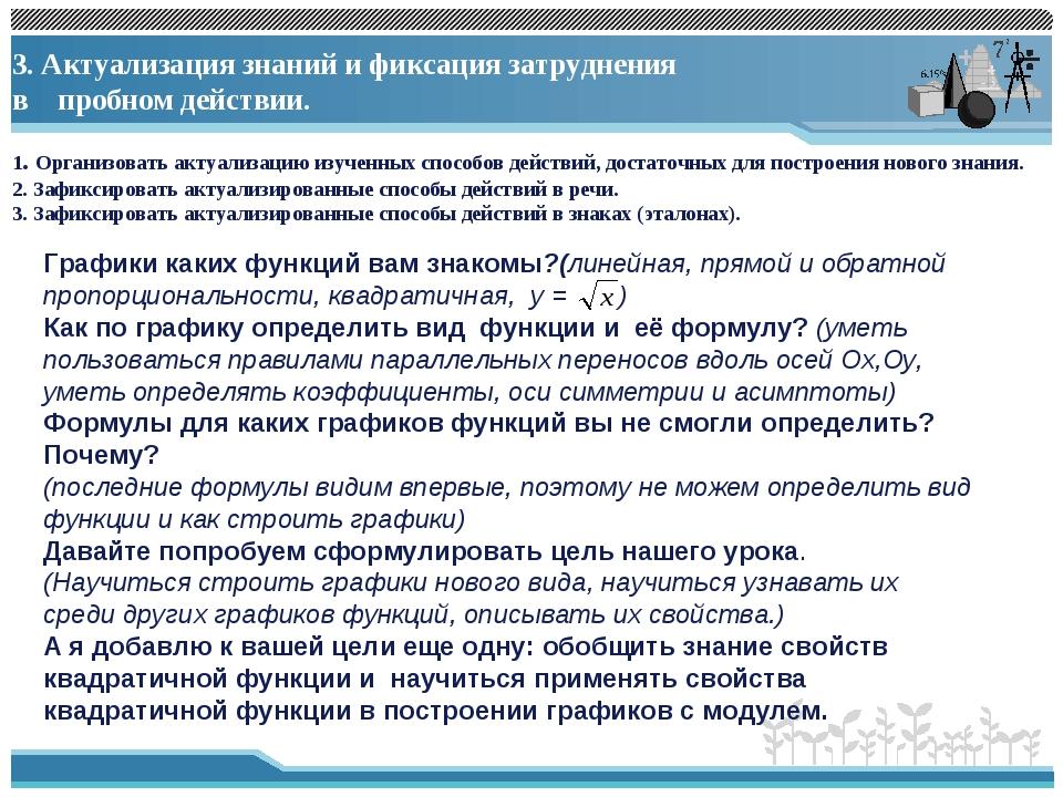3. Актуализация знаний и фиксация затруднения в пробном действии. 1. Организ...