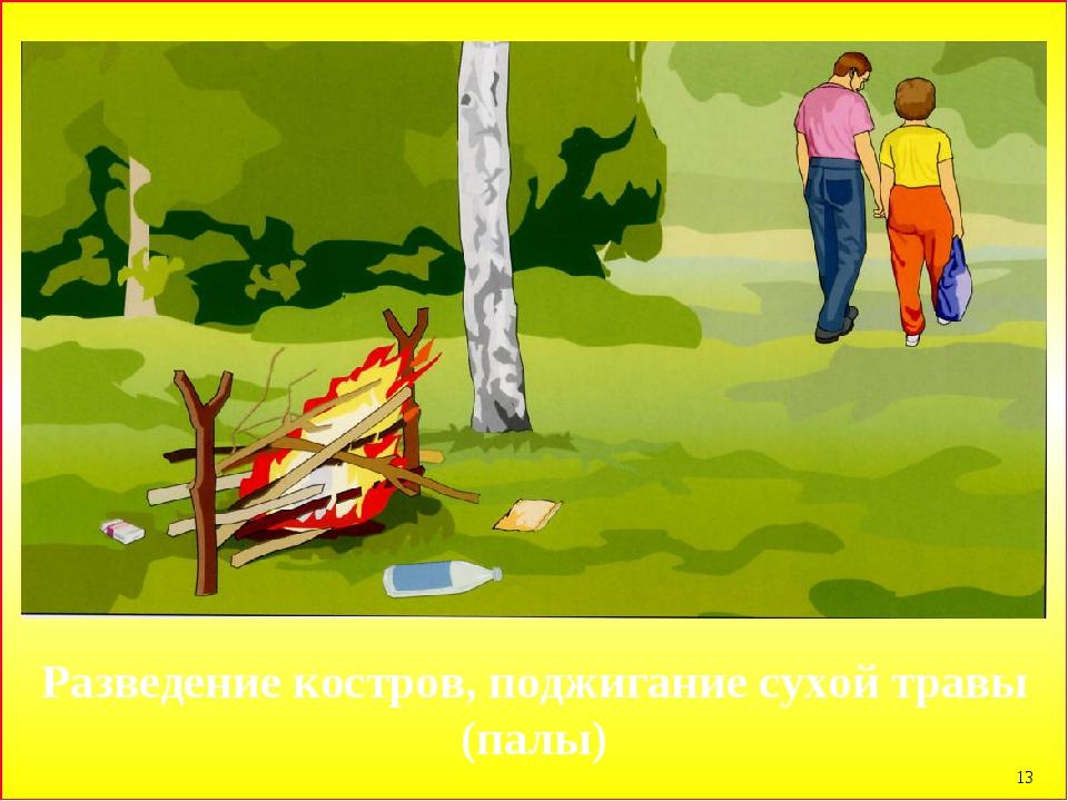 * Разведение костров, поджигание сухой травы (палы)