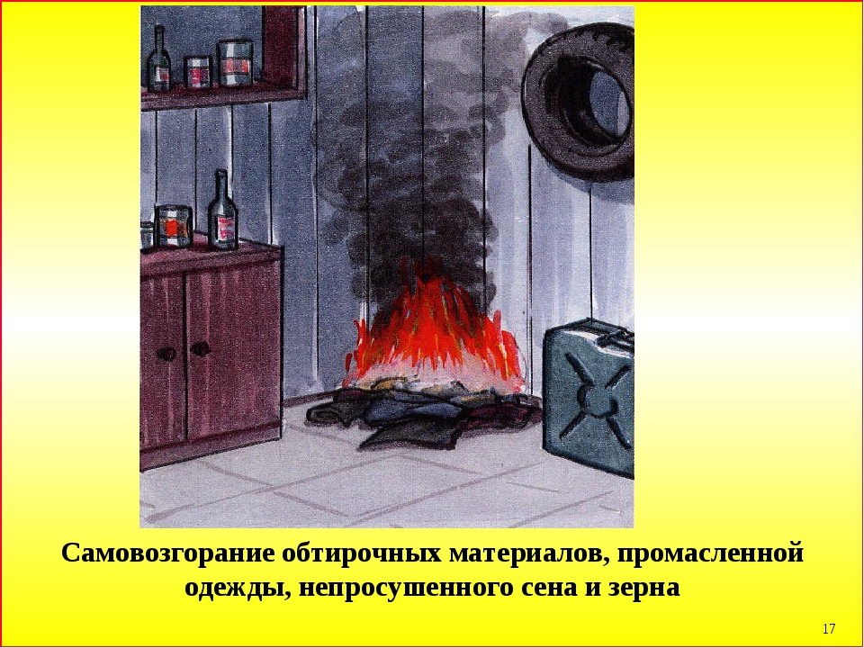 * Самовозгорание обтирочных материалов, промасленной одежды, непросушенного с...