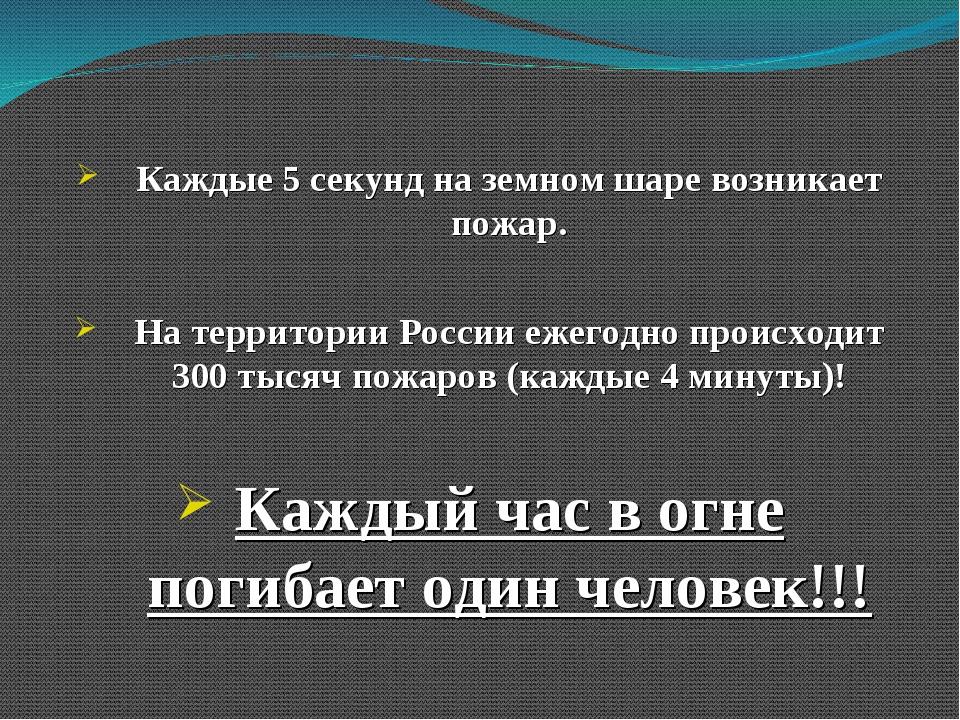 Каждые 5 секунд на земном шаре возникает пожар. На территории России ежегодно...