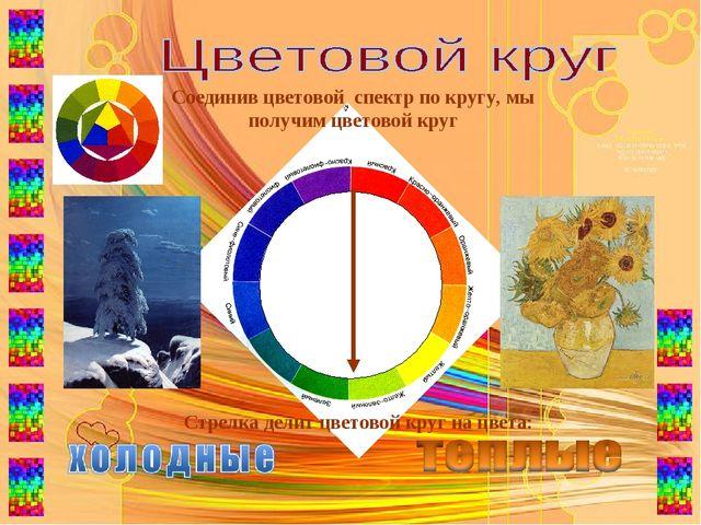 Стрелка делит цветовой круг на цвета: Соединив цветовой спектр по кругу, мы п...